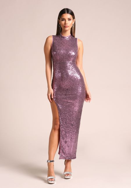 Purple Sequin High Side Slit Maxi Dress