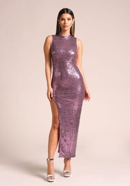 Purple Sequin High Side Slit Maxi Dress