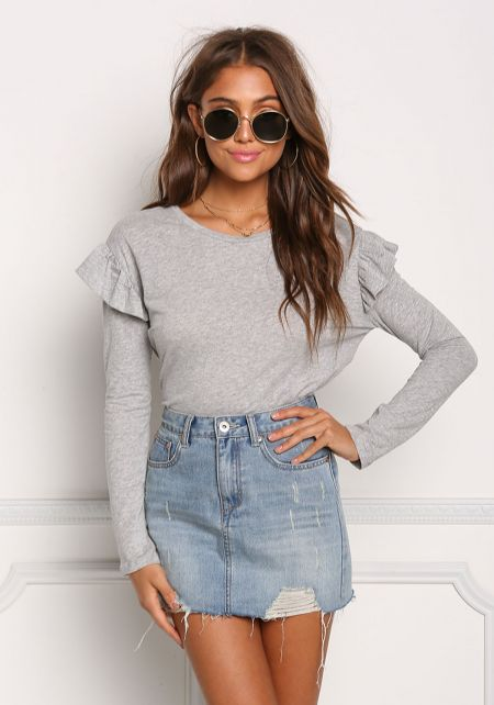 Heather Grey Ruffle Layer Tie Back Top
