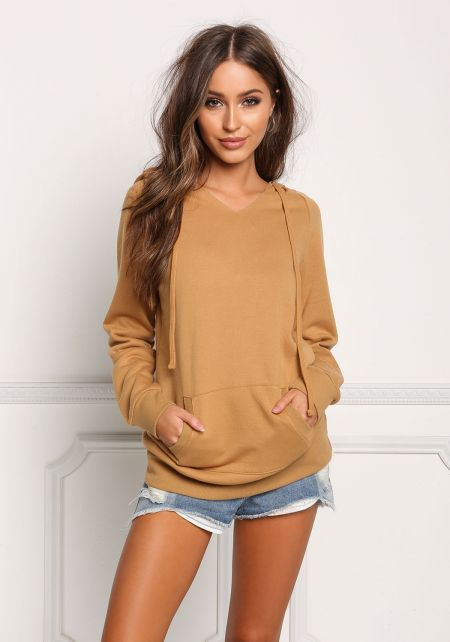 Mustard Pocket Hooded Pullover Sweater