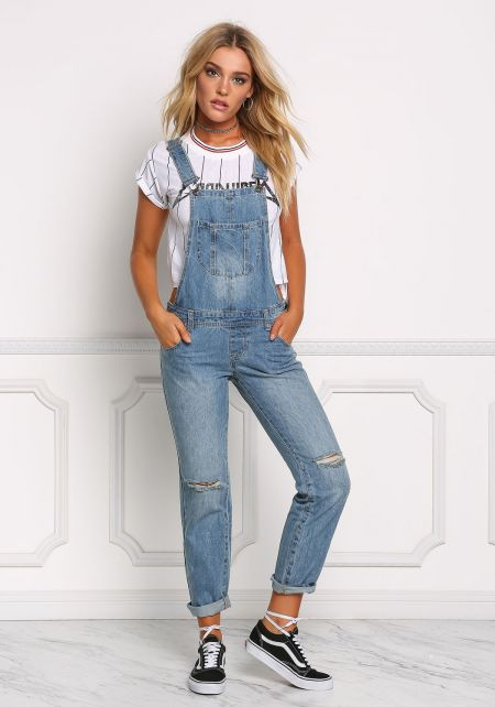Denim Distressed Cross Strap Overalls