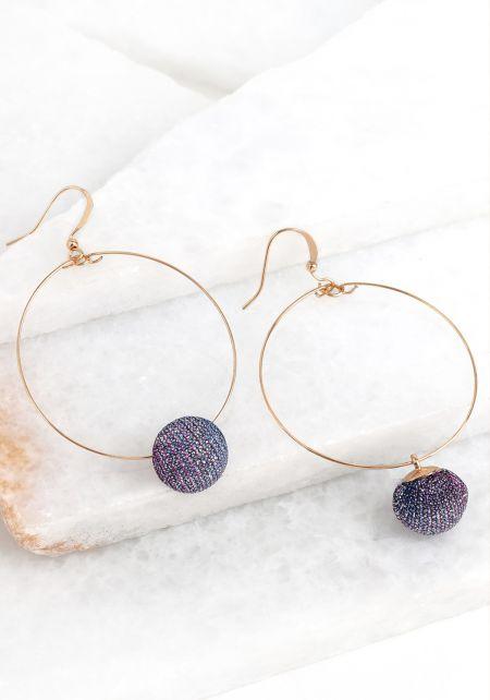 Purple Pom Pom Hoop Earrings