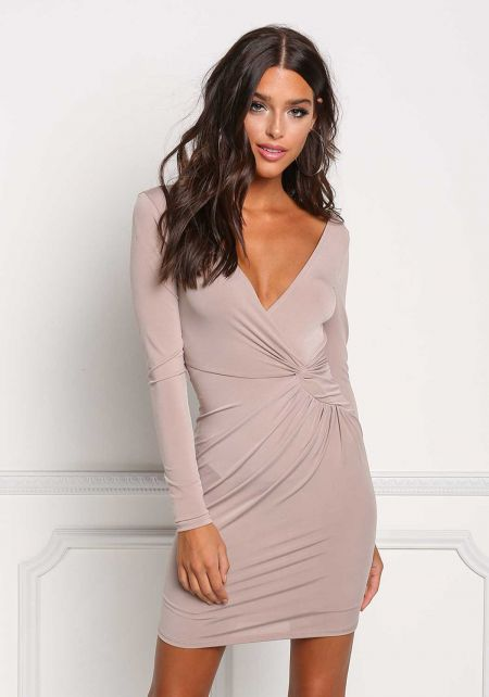 Taupe Twisted Deep V Bodycon Dress