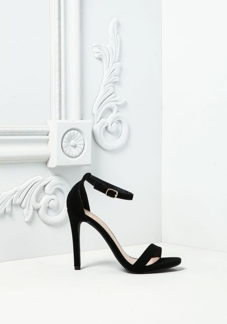 Black Leatherette Ankle Strap Heels