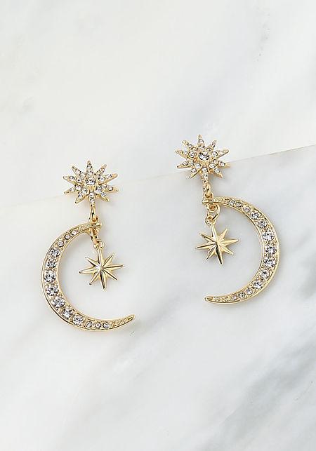 Gold Moon & Star Rhinestone Pendant Earrings