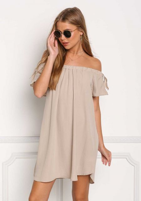 Beige Off Shoulder Shift Dress