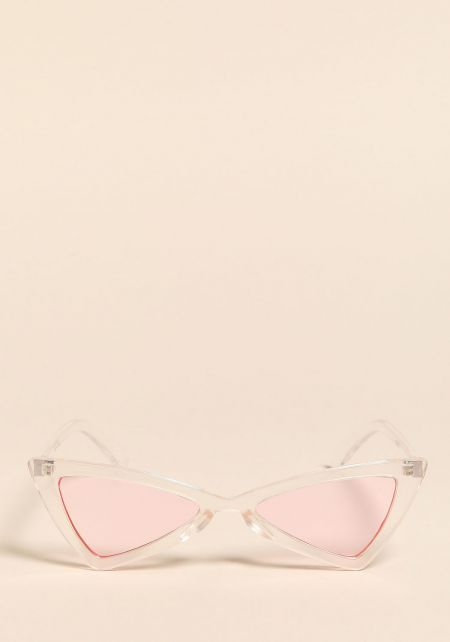 Clear Pink Colored Geometric Cat Eye Sunglasses