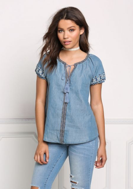 Denim Embroidered Tassel Strap Blouse