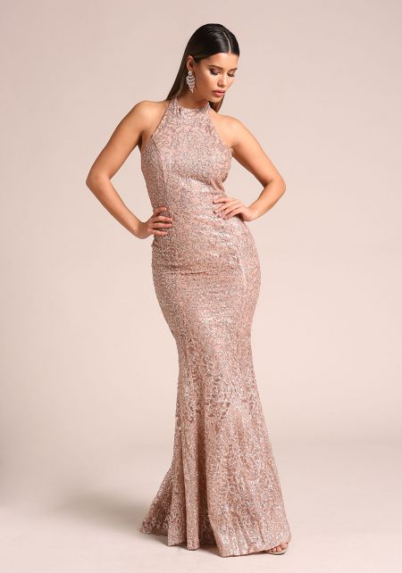 Rose Gold Glitter Tulle Halter Mermaid Gown