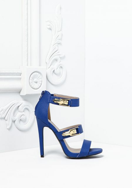 Royal Blue Textured Leatherette Multi Strap Heels