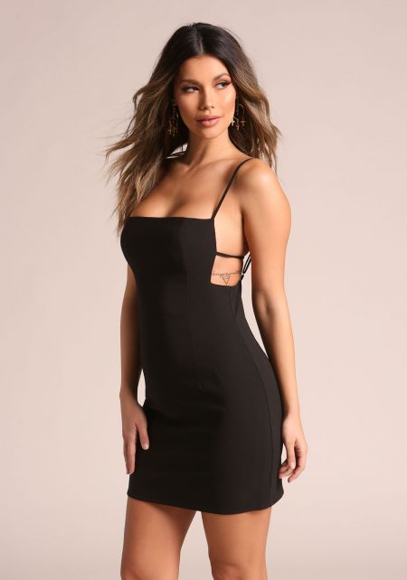 Black Multi Thin Strap Bodycon Dress
