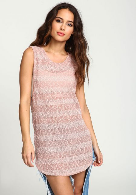 Pink Speckled Knit Tank Top