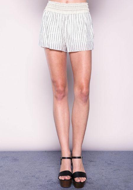 Ivory Striped Cotton Crochet Shorts