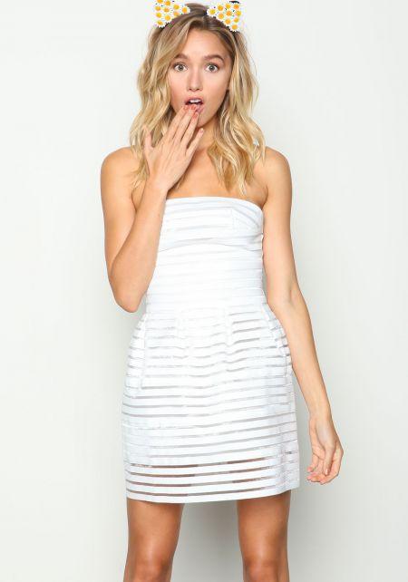 Ivory Sheer Mesh Bandage Dress