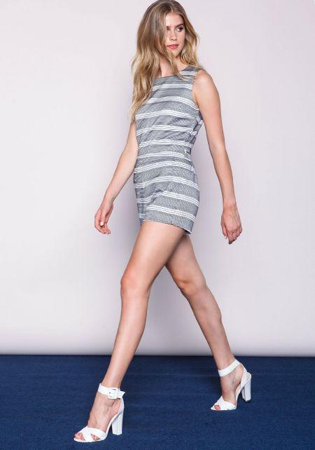 J.O.A. Striped Tweed Wrap Back Playsuit