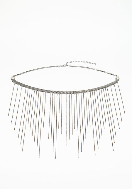 Silver Fringe Chain Belt