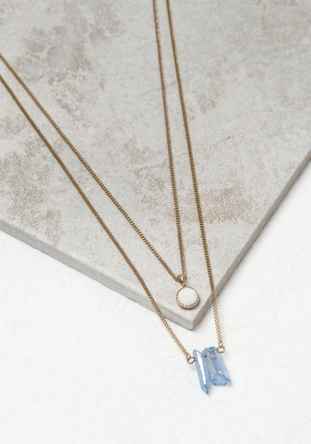 Bead and Blue Crystal Necklace