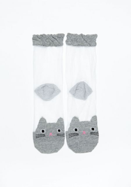 Grey Cat Sheer Socks