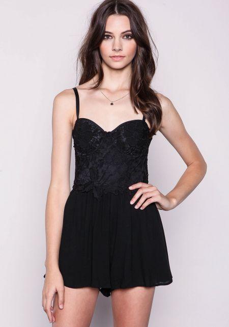 Black Lace Bustier Romper