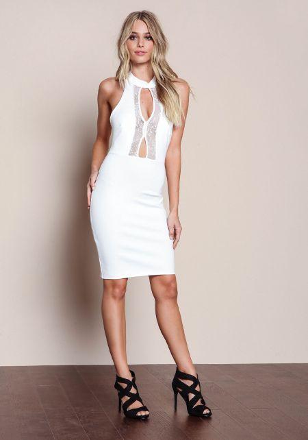 Ivory Plush Knit Lace Plunge Dress