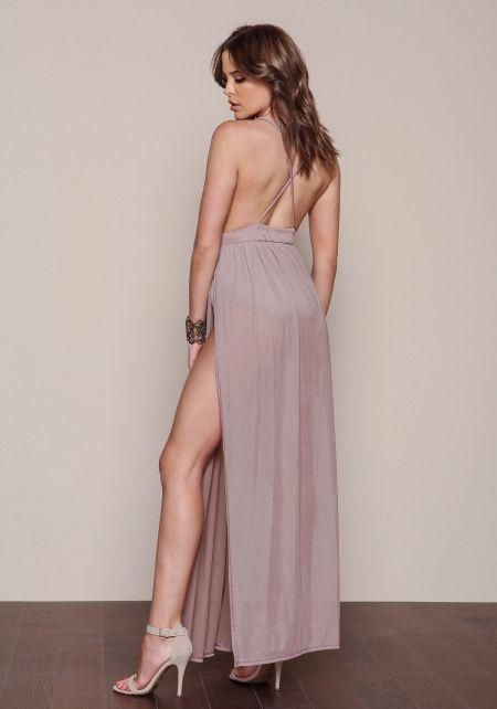 Junior Clothing Mocha Mesh Bodysuit Maxi Dress