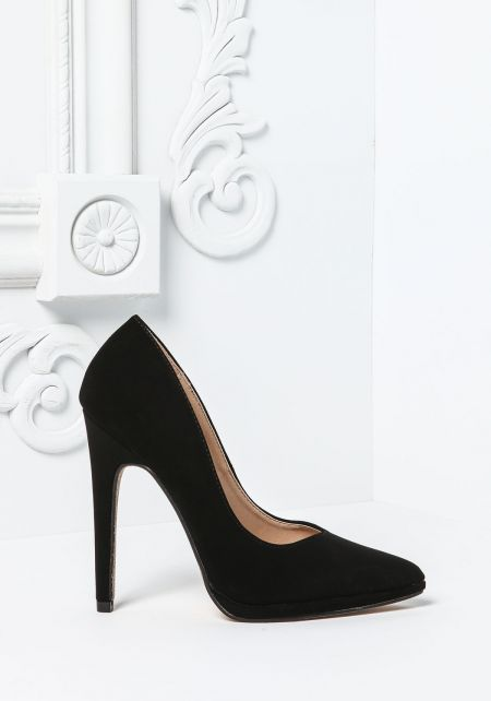 Black Nubuck Pointed Toe Pumps