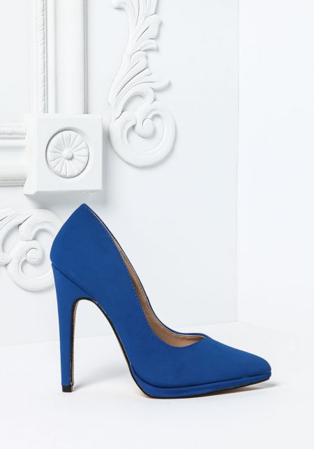 Cobalt Nubuck Pointed Toe Pumps