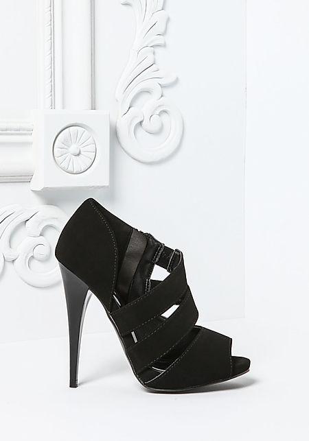 Black Side Strappy Peep Toe Heel