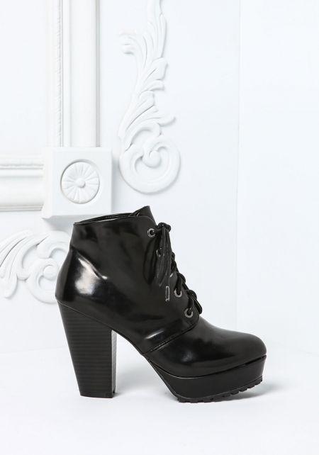 Black Lace Up Leatherette Platform Booties