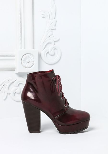 Burgundy Lace Up Leatherette Platform Booties