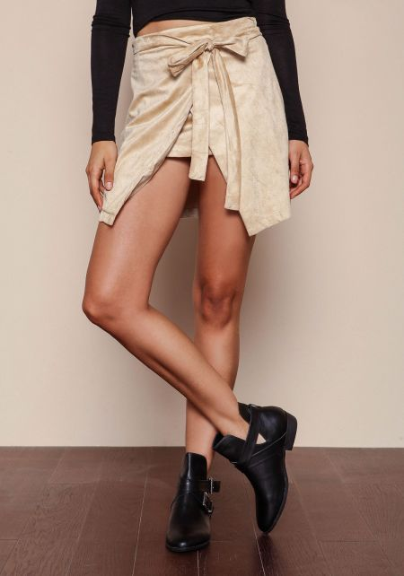 Taupe Suede Wrap Skirt