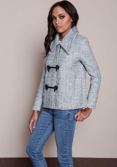 Grey Wool Blend Toggle Coat