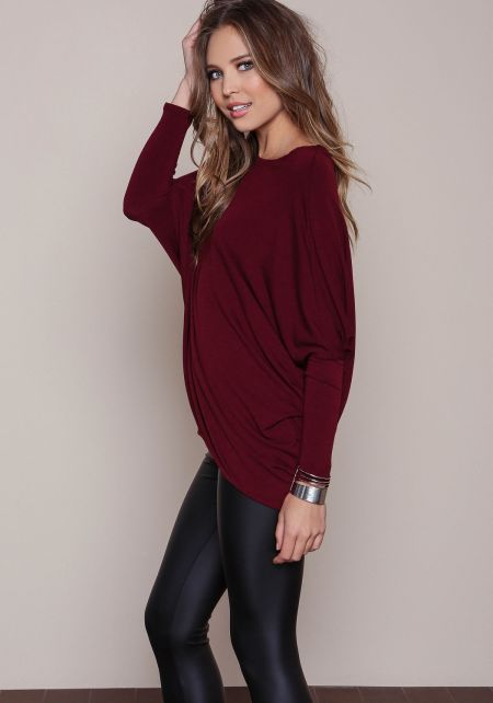 Burgundy Dolman Sleeve Basic Top