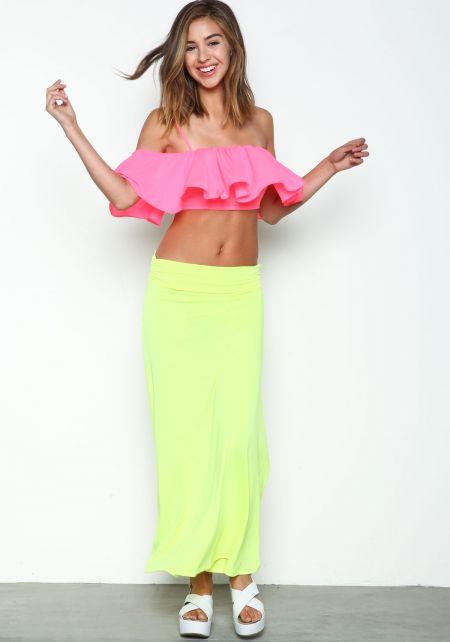 Neon Jersey Maxi Skirt