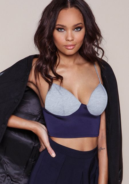 Navy Color Block Bustier Crop Top