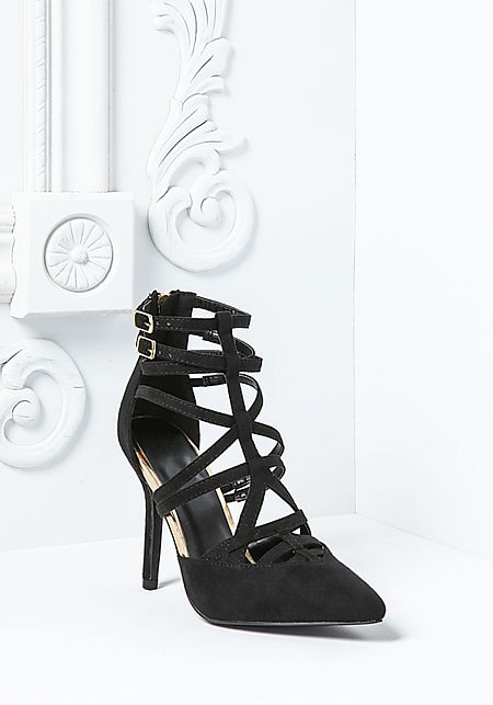 Black Cut Out Ankle Strap Heels