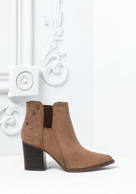 Taupe Studded Pointy Toe Booties