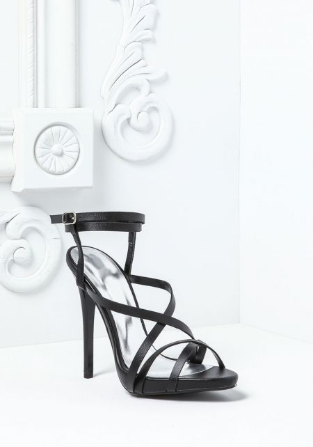 Black Criss Cross Strappy Heels