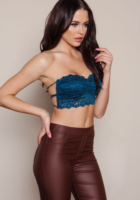 Teal Strappy Back Lace Bandeau