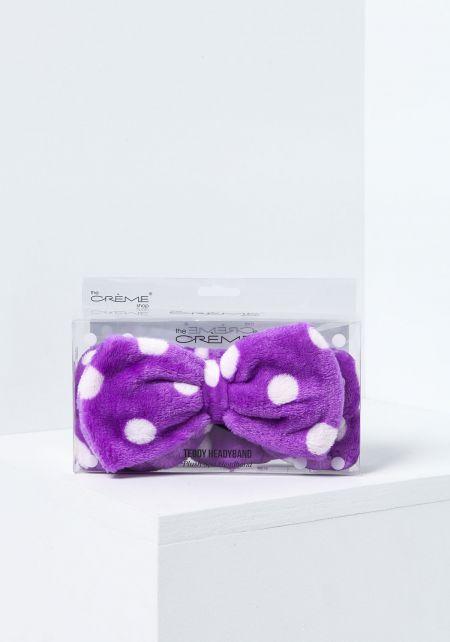 Purple Polka Dot Teddy Headband
