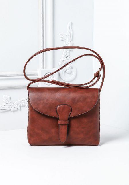 Brown Belt Flap Shoulder Bag