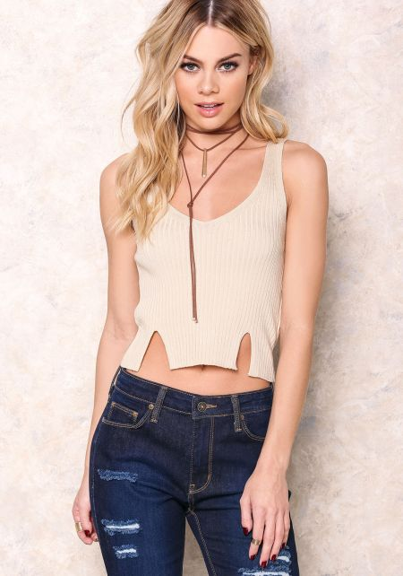 Khaki Ribbed Crop Top with Slits