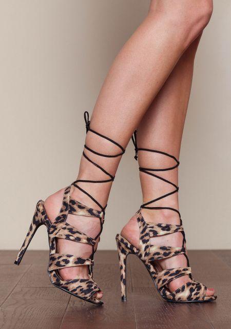Leopard Laced Up Open Toe Heels