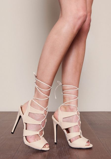 Nude Laced Up Open Toe Heels