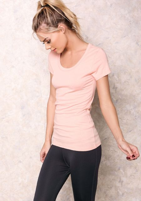 Peach Scooped Neck Basic Tee