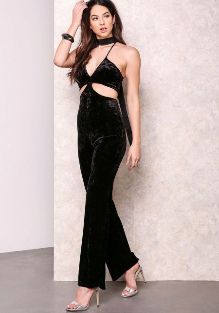 Black Pieces of Me Velvet Jumpsuit