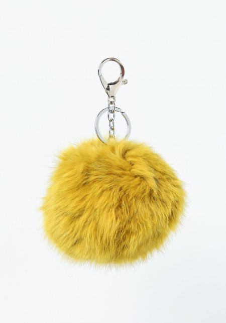 Citron Furry Pom Pom Key Chain