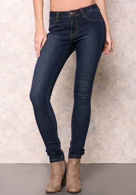 Dark Denim Skinny Jean with Stitching