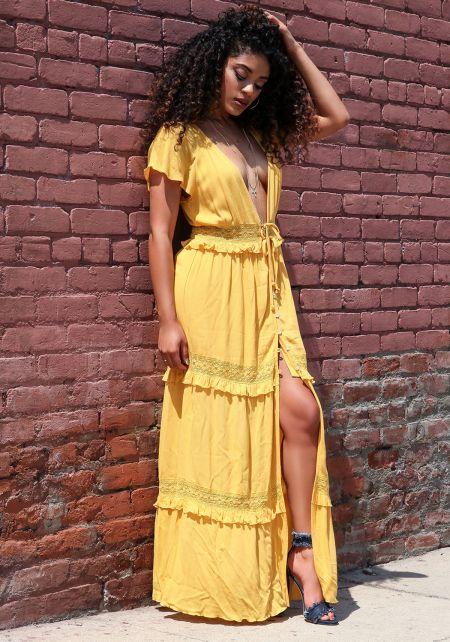 Mustard Gauze Crochet Trim Plunge Maxi Dress