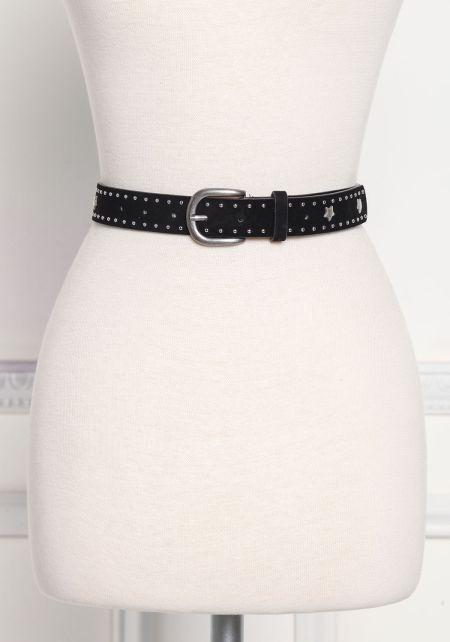 Black Suedette Studded Belt
